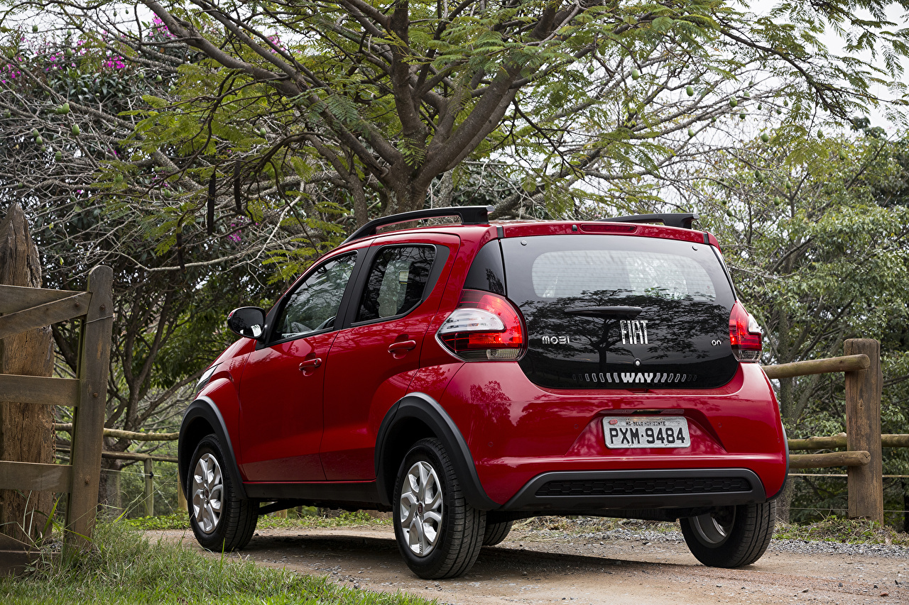 Wallpaper Fiat 2016 Mobi Way On dark red Cars Metallic Back view maroon burgundy Wine color auto automobile