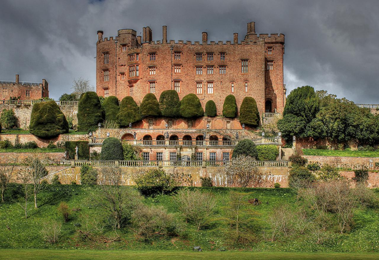 Desktop Wallpapers Cities United Kingdom Powis Castle Castles Bush Wales castle Shrubs