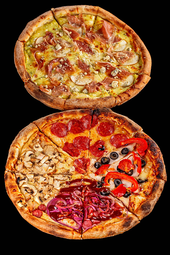 Images 2 Pizza Sausage Ham Fast food Mushrooms Food Black background  for Mobile phone Two