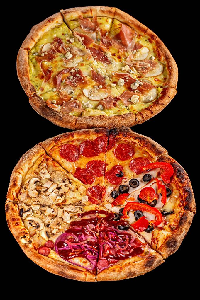 Foto 2 Pizza Wurst Pilze Schinken Fast food Lebensmittel Schwarzer Hintergrund  für Handy Zwei das Essen