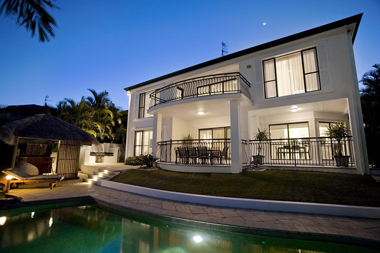 Обои бассейн, дизайн, ночь, особняк. Города foto 10