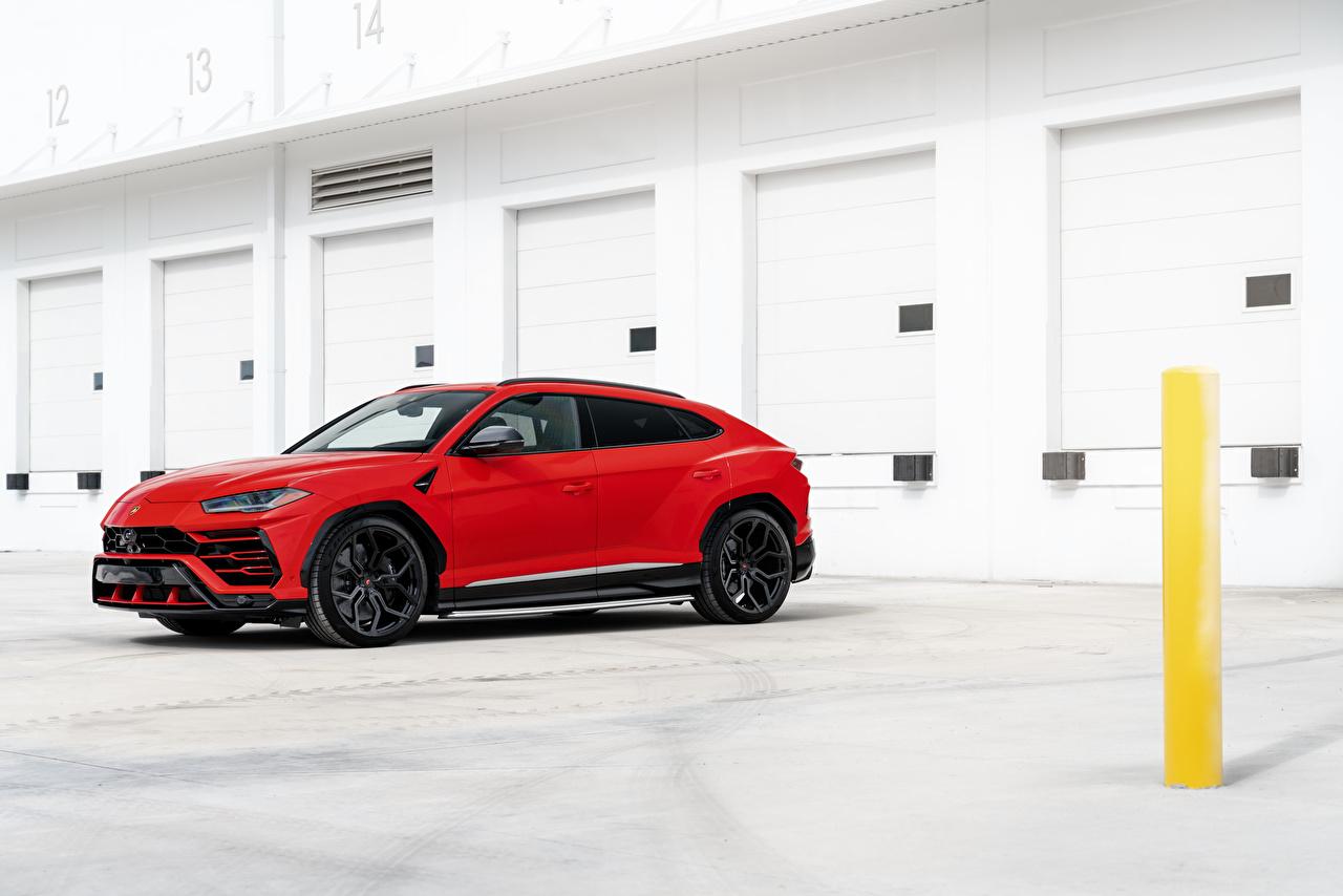 Images Lamborghini Crossover Urus, 2019 Red Side automobile CUV Cars auto