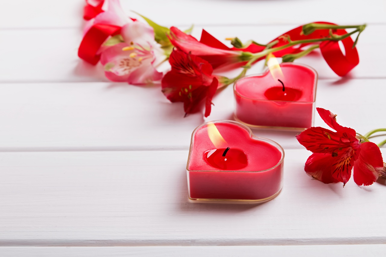 Pictures Valentine's Day Heart Fire Candles Flame
