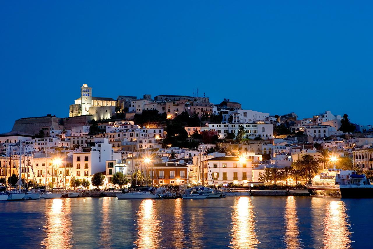 壁紙 スペイン 海岸 住宅 Ibiza Balearic Islands 夜 都市 ダウンロード 写真