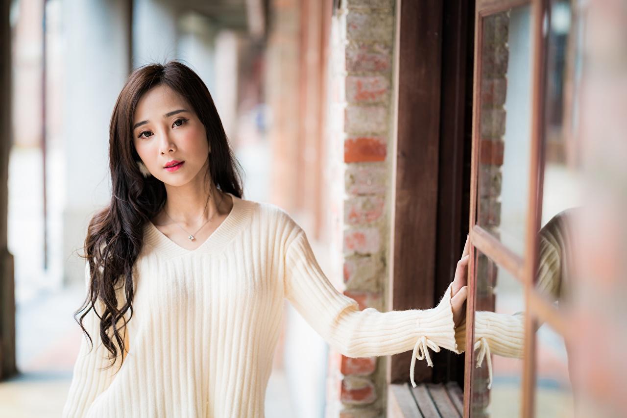Фотография шатенки боке Девушки азиатка свитера рука смотрит Шатенка Размытый фон девушка молодая женщина молодые женщины Азиаты Свитер азиатки свитере Руки Взгляд смотрят
