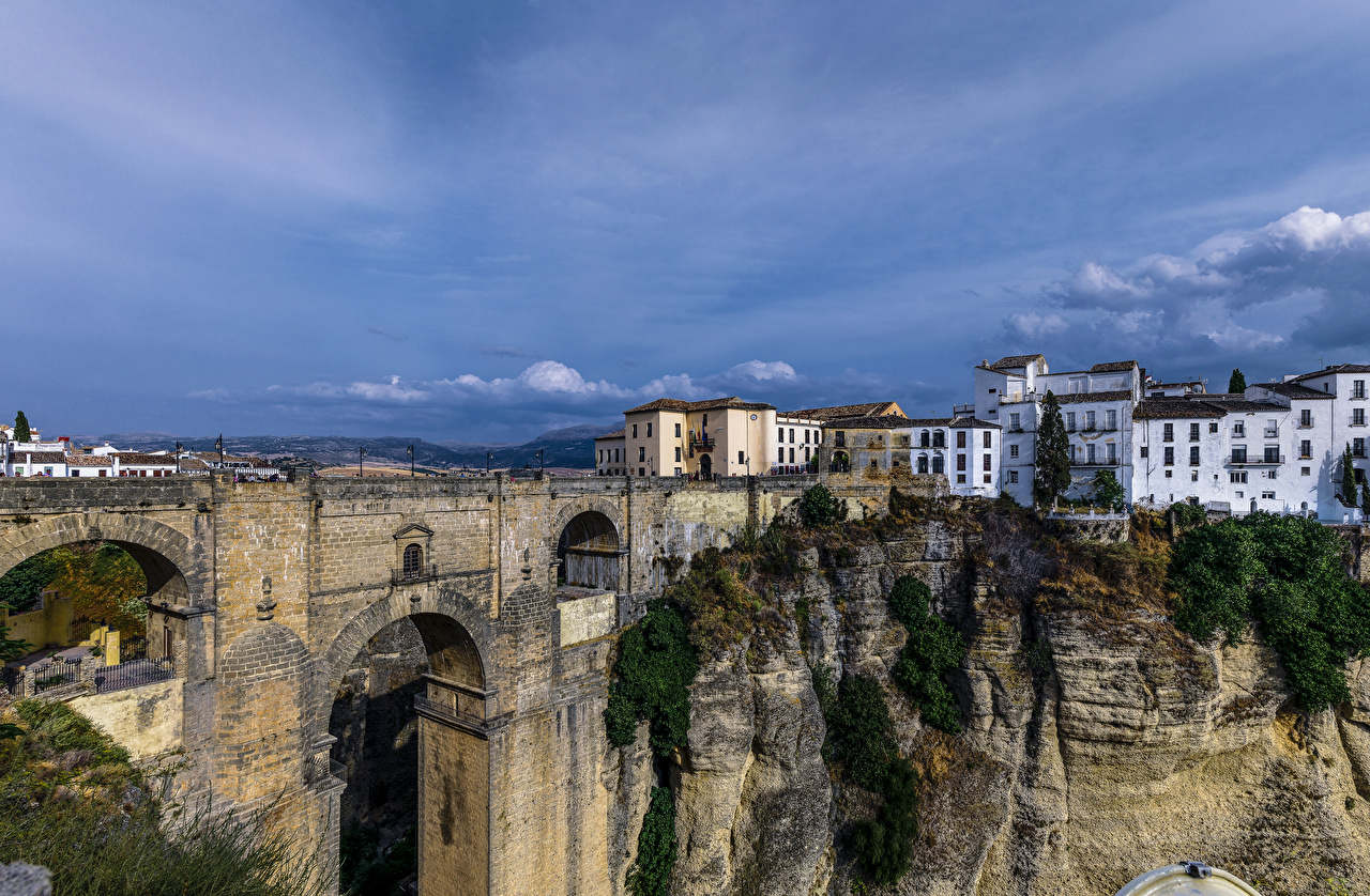 Picture Spain Ronda Andalusia Crag Bridges Cities Houses Rock Cliff Building
