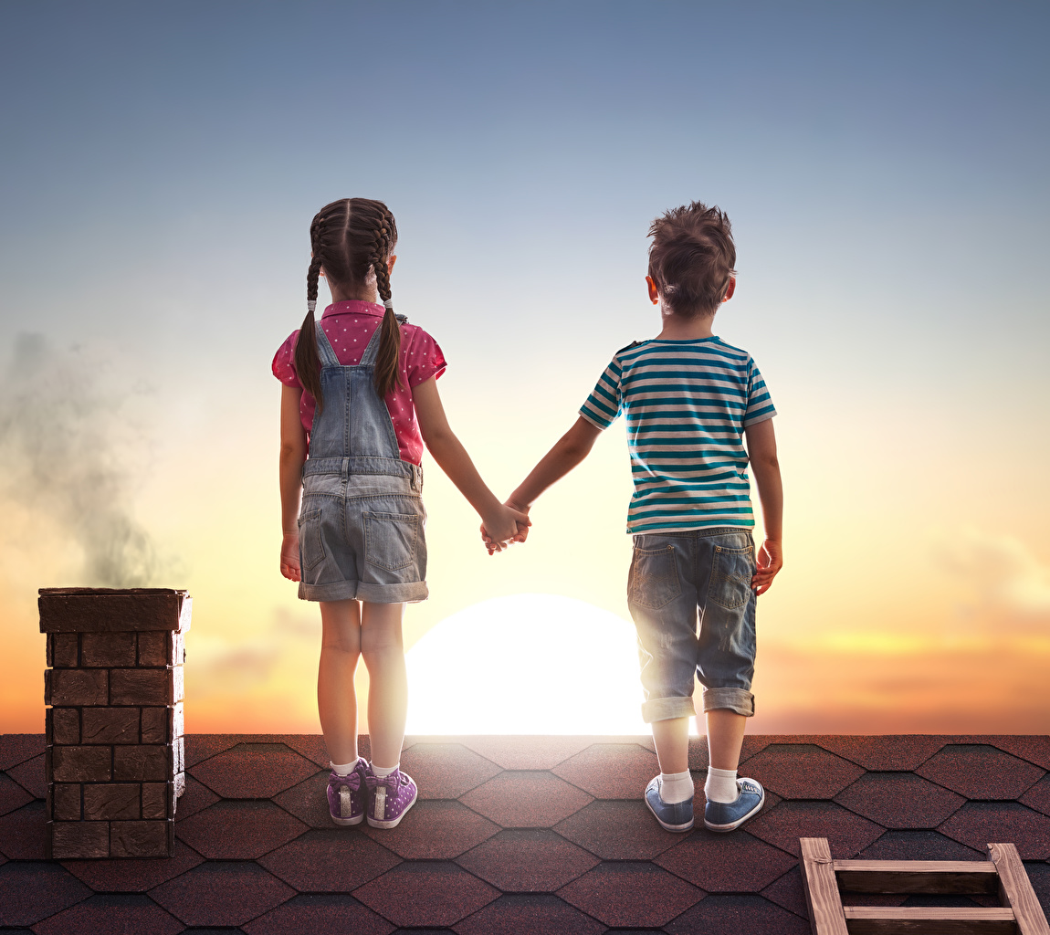 Images Little girls Boys Children Human back Two Roof Sunrises and sunsets Shorts