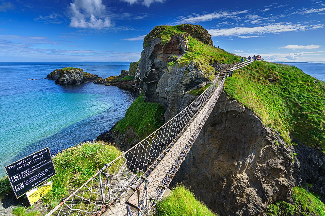 Bilder Vereinigtes Königreich Ballintoy, County Antrim, Northern Ireland Meer Natur Felsen Brücke Gebirge Küste Berg Brücken