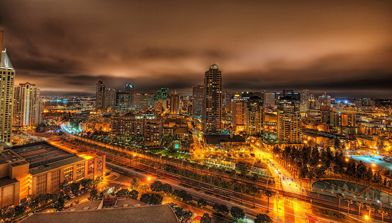 Pictures San Diego California USA Megapolis From above night time Houses Cities megalopolis Night Building
