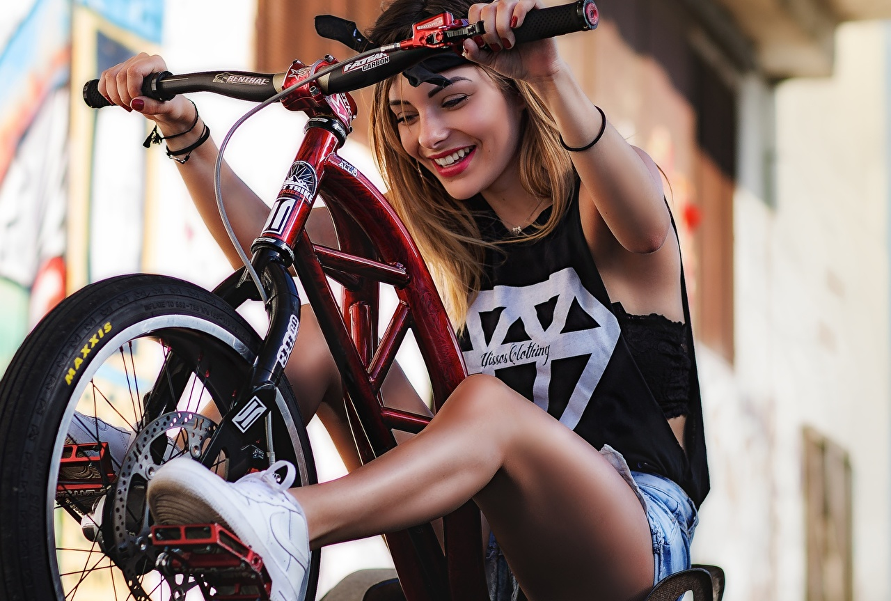 Pictures Smile Bicycle handlebar bike Girls Legs Bicycle bicycles female young woman