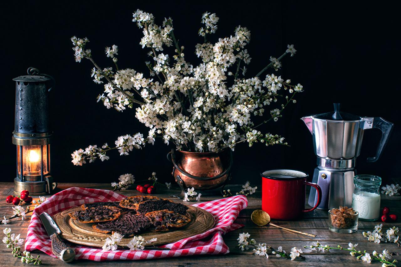 Bilder von Flötenkessel Ast Vase Becher Kerzen das Essen Backware Stillleben Blühende Bäume Pfeifkessel Wasserkessel Lebensmittel