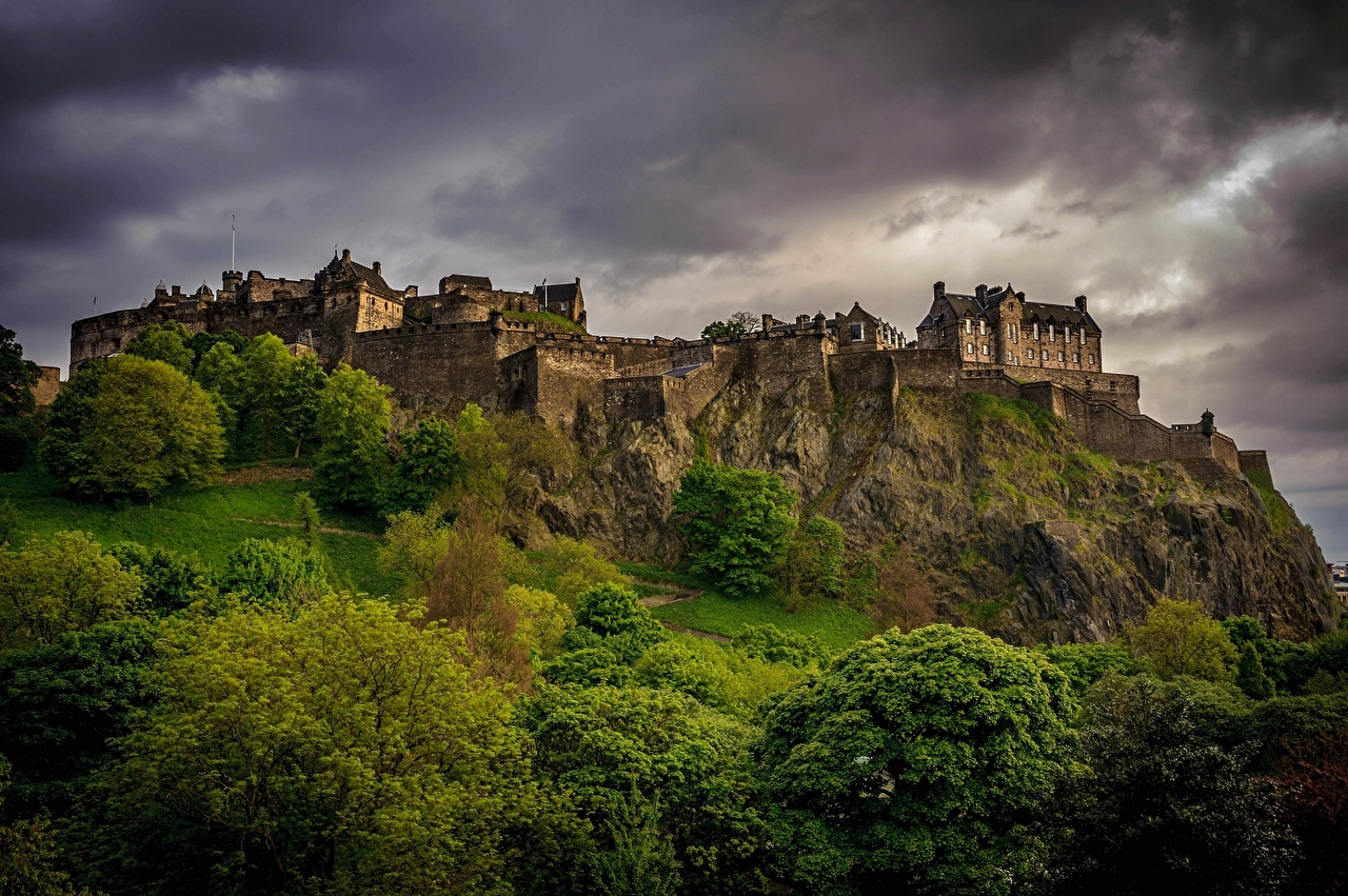 Desktop Wallpapers Edinburgh Scotland Fortification West End Rock Nature Castles Fortress Crag Cliff castle