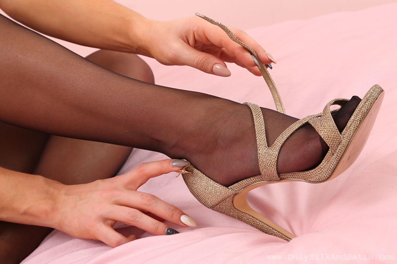 Image Pantyhose young woman Legs Hands Closeup Stilettos Girls female high heels