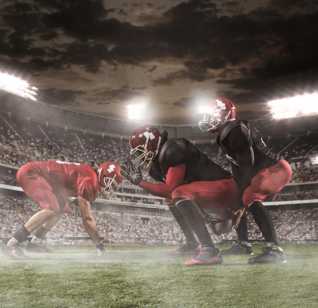 Images Men Helmet American football Sport Uniform Three 3 Man