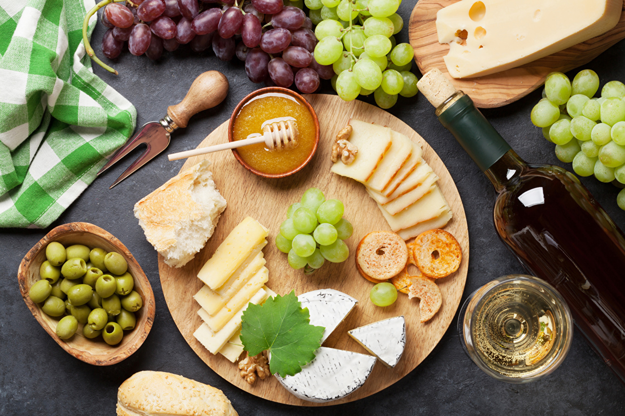 Image Wine Olive Honey Cheese Grapes Food Bottle Stemware Cutting board bottles
