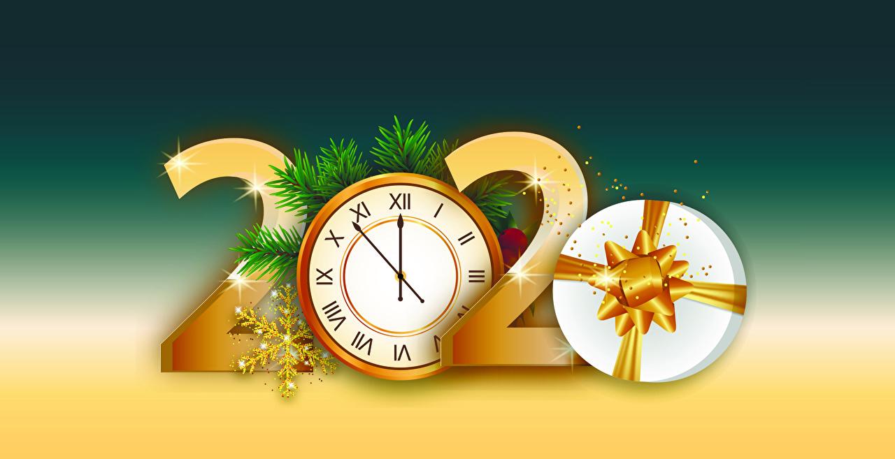 Bilder von 2020 Neujahr Uhr Schneeflocken Geschenke