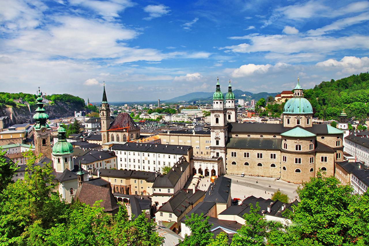 Fotos von Kirche Salzburg Österreich Haus Städte Kirchengebäude Gebäude