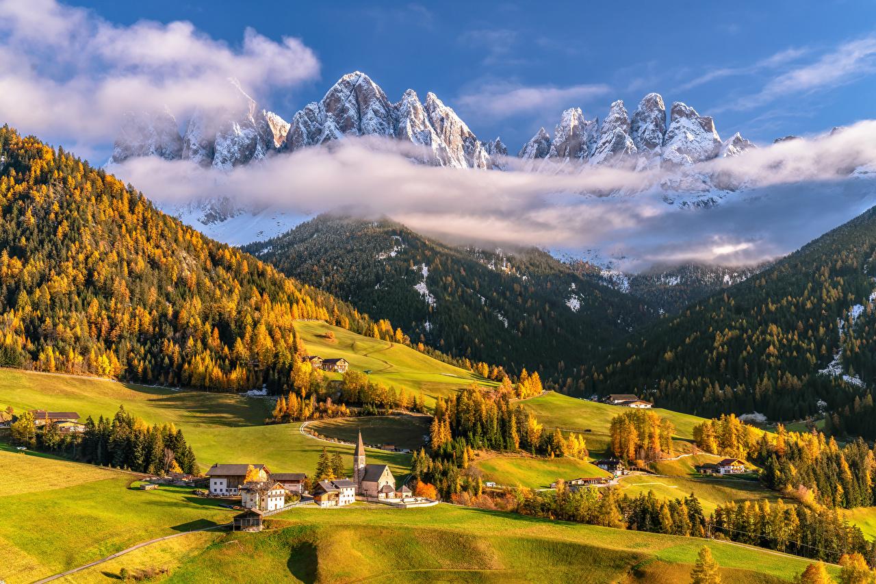 Bilder Alpen Italien Dolomites Ein Tal Natur Herbst Gebirge Landschaftsfotografie Wolke Berg