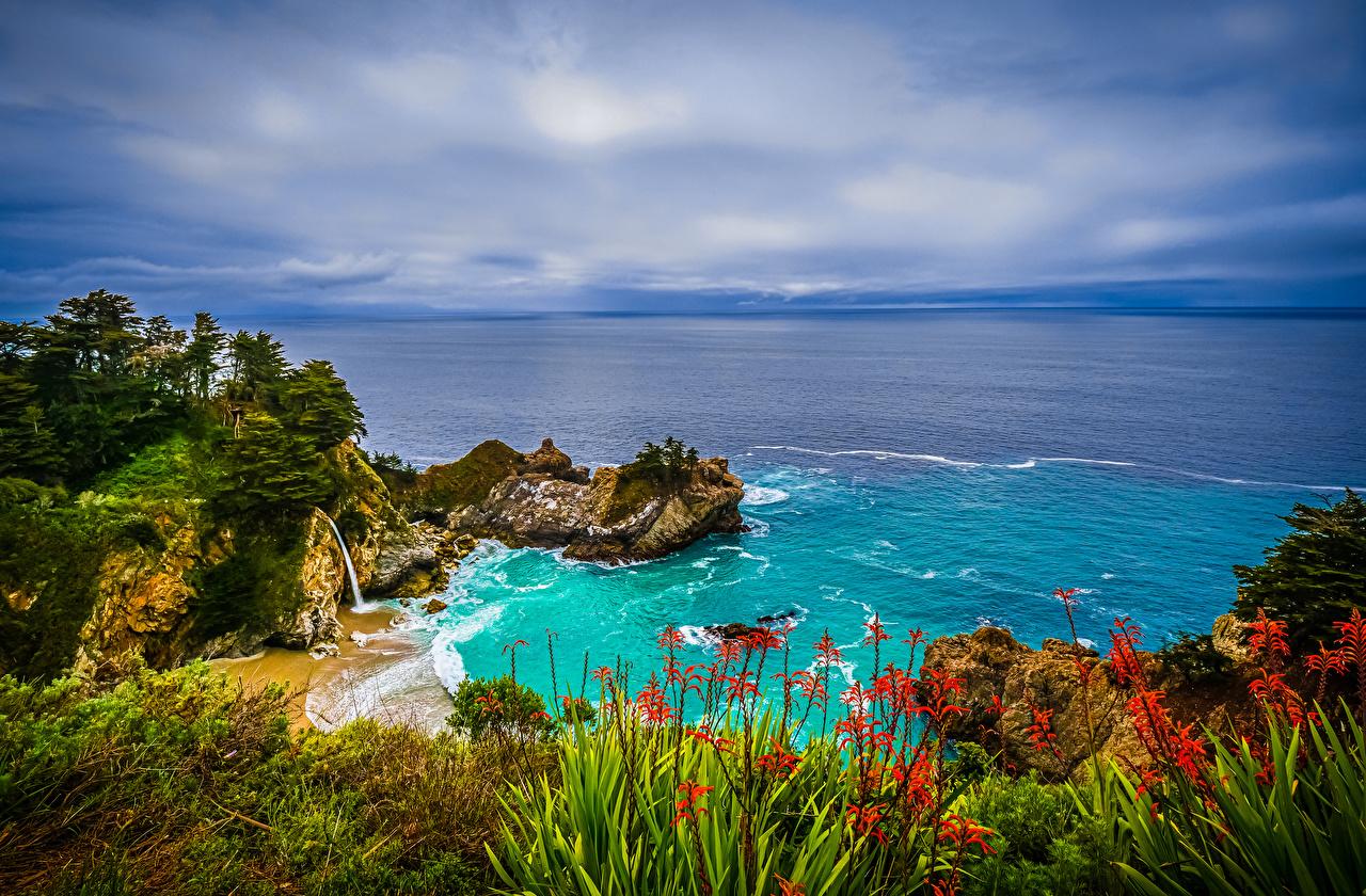 Desktop Wallpapers California USA Crag Ocean Nature Coast Rock Cliff