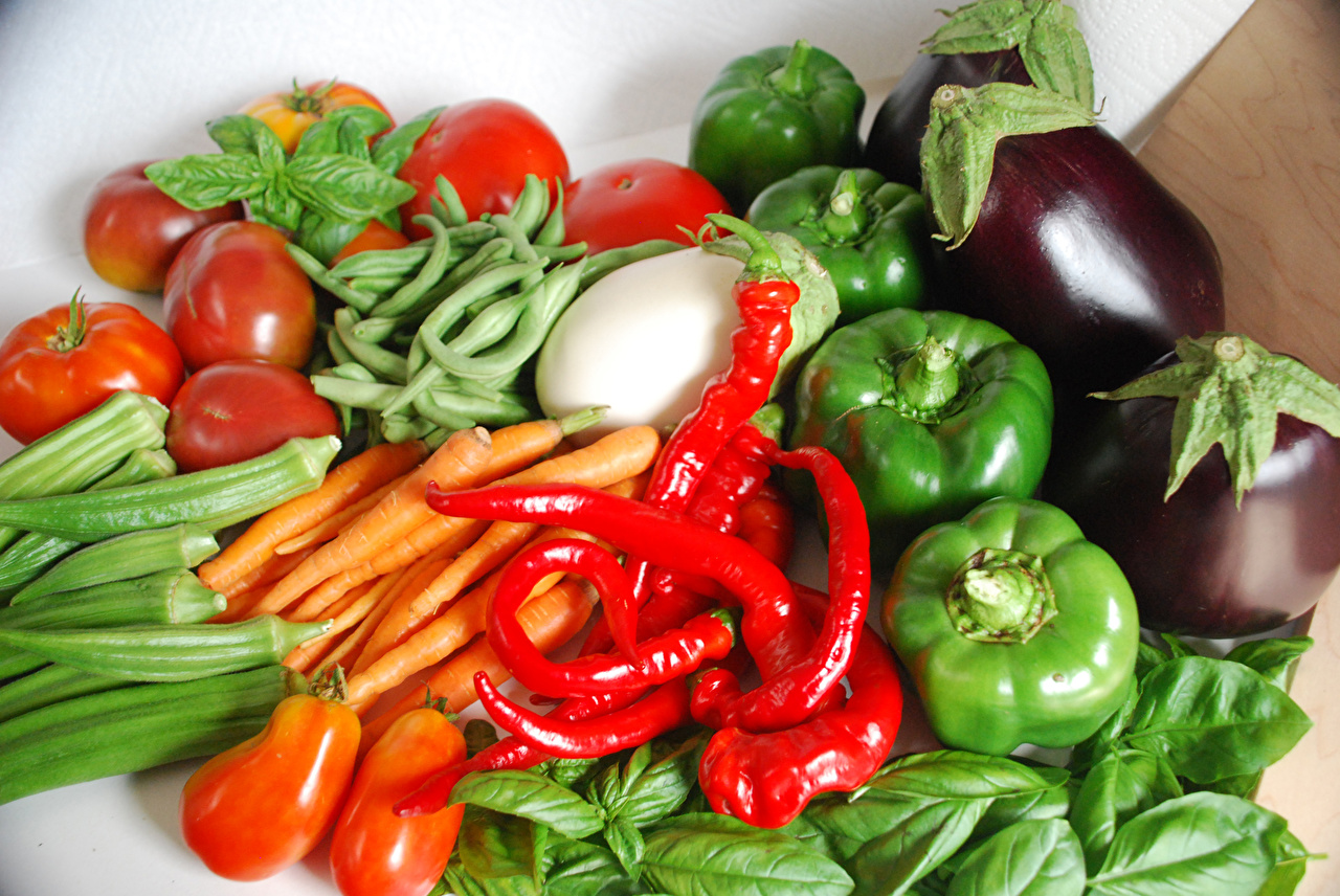 Wallpaper Carrots Tomatoes Food Vegetables Bell pepper