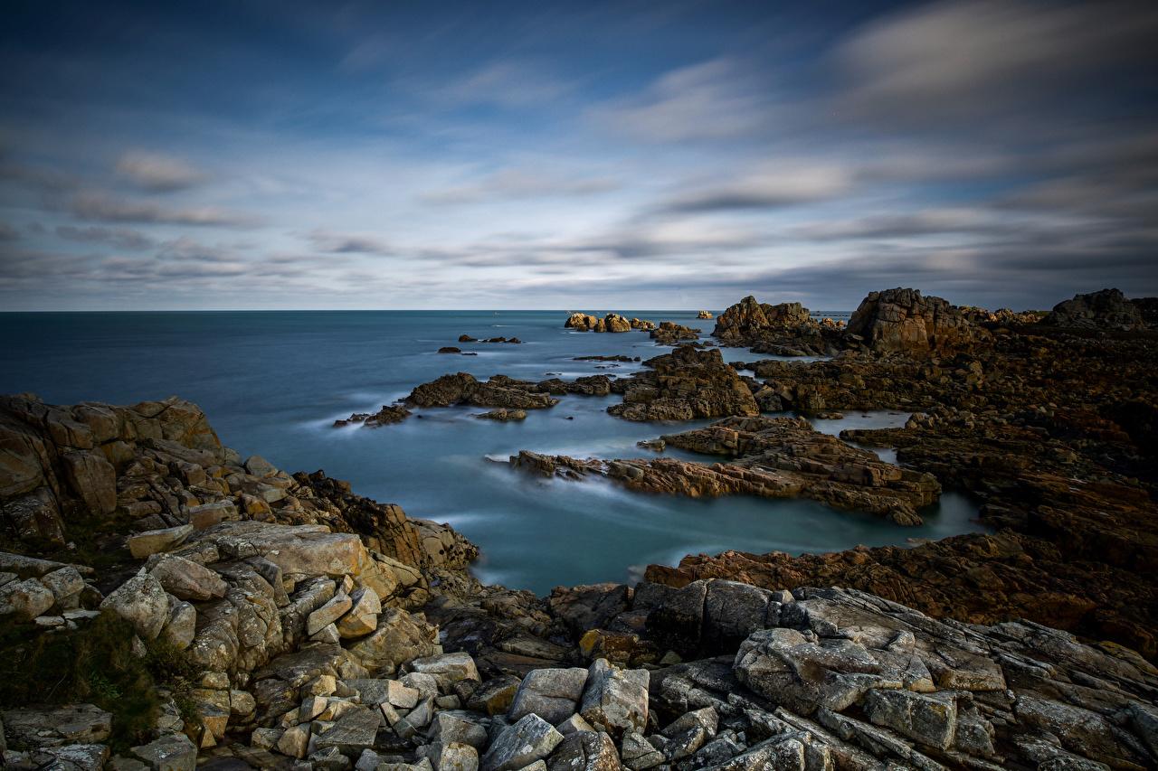 Skrivebordsbakgrunn Frankrike Bretagne Natur Klippe Kyst stein Skyer Steiner kystlinje