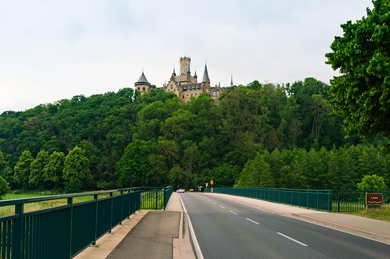 Desktop Wallpapers Germany Marienburg castle road in Pattensen Nature Roads Fence forest Castles Forests