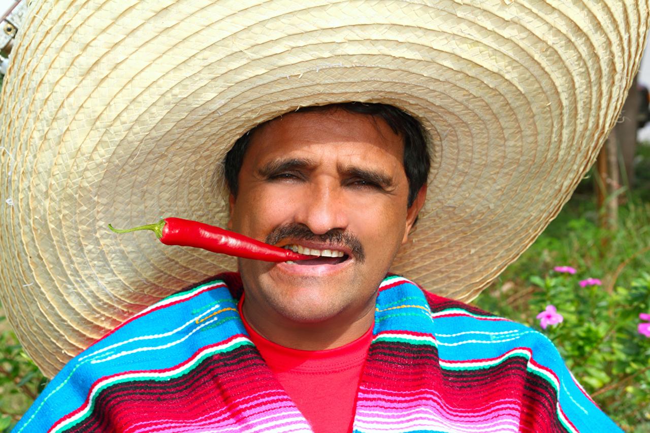 Photo Men Hat Chili pepper Man