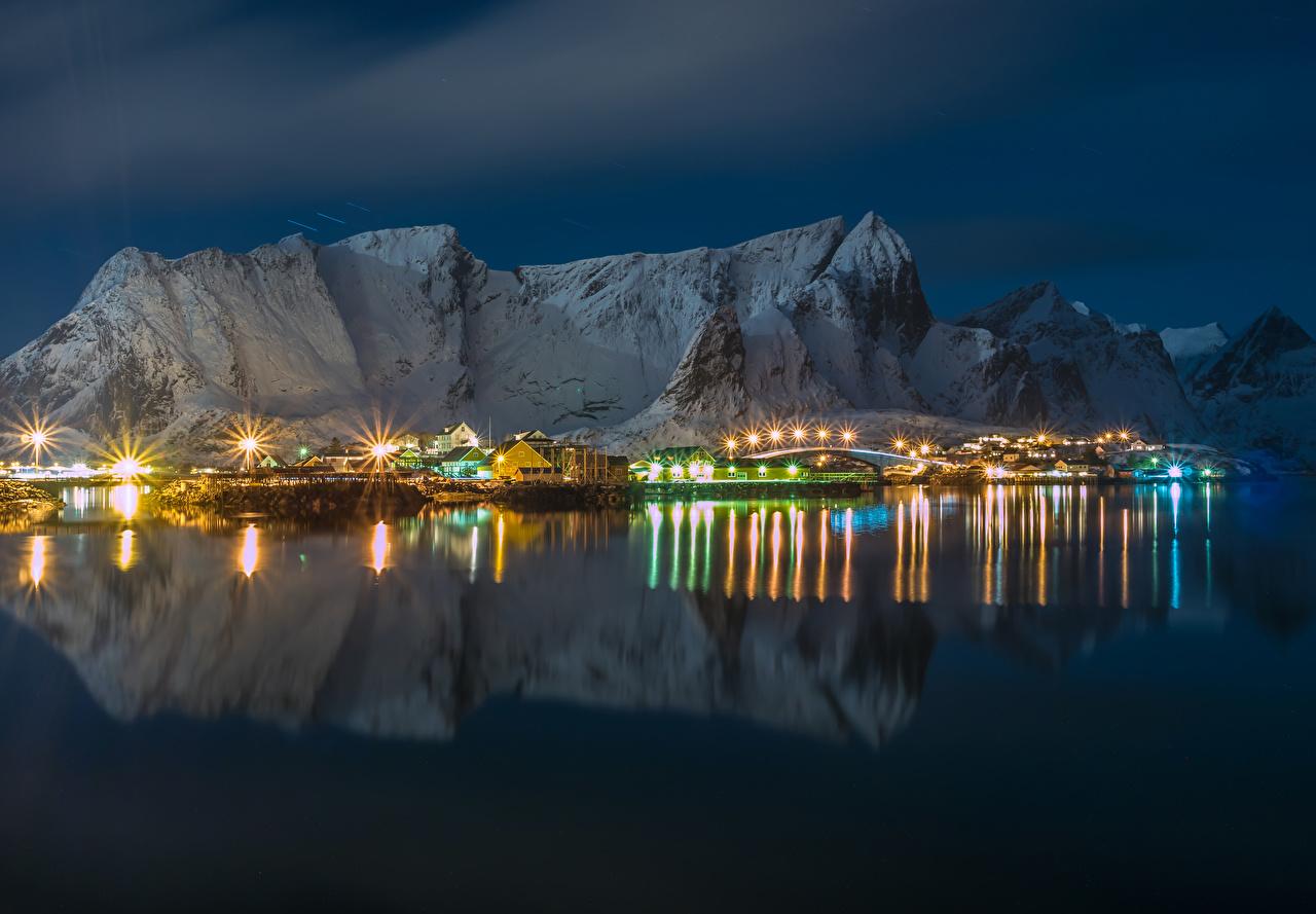 Foto Lofoten Norwegen Gebirge Bucht Nacht Straßenlaterne Haus Städte Berg Gebäude