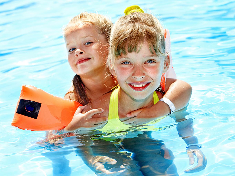 Photo Little girls Pools child 2 Swimming bath Children Two