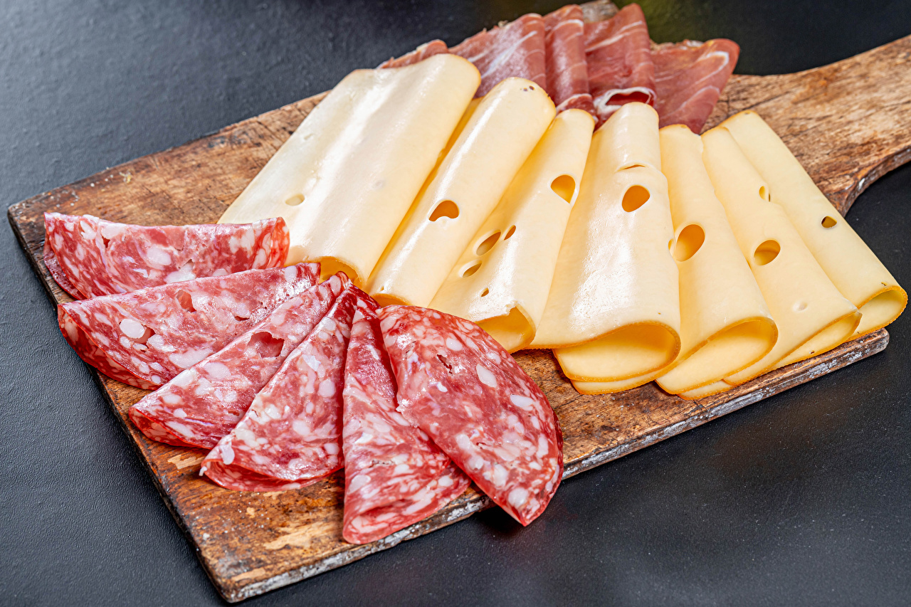 Photo Sausage Ham Cheese Food Sliced food Cutting board