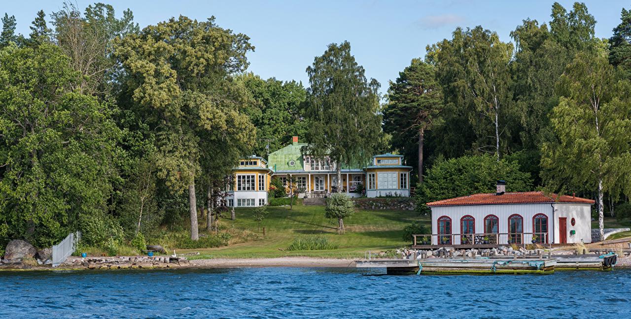 Fotos Stockholm Schweden Flusse Bootssteg Bäume Städte Gebäude Seebrücke Schiffsanleger Haus