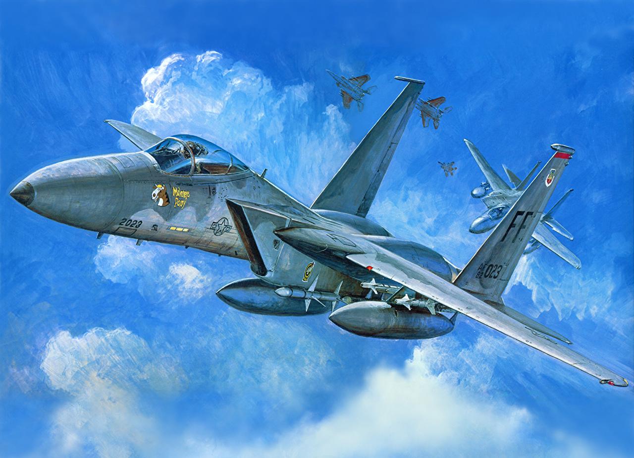 Desktop Wallpapers Airplane F -15C Painting Art Aviation