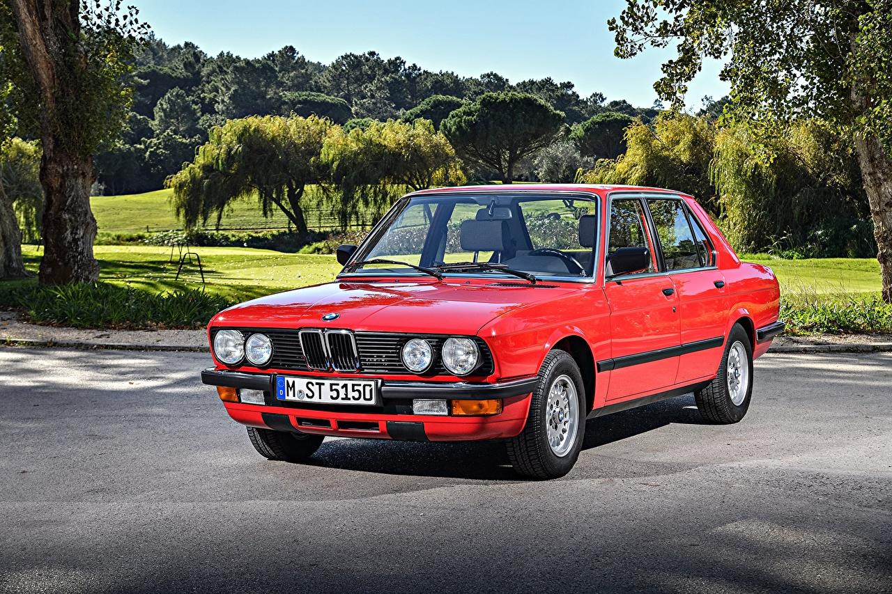 Wallpaper BMW 1983-87 524td Red Retro auto Metallic vintage antique Cars automobile