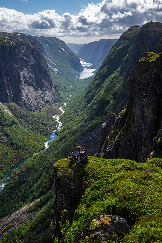 Pictures Norway Hjelmeland Valley Cliff Nature Mountains Clouds  for Mobile phone Rock Crag mountain