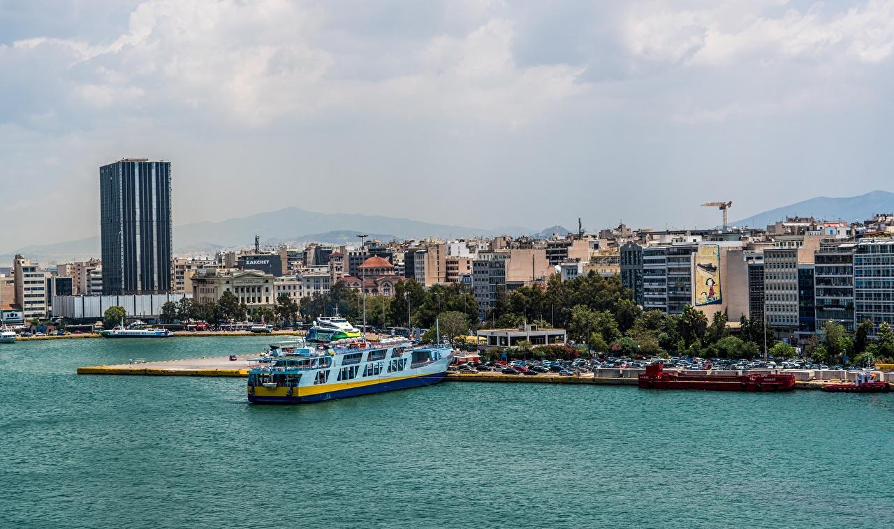 Photo Greece Athens ship Marinas Cities Ships Pier Berth
