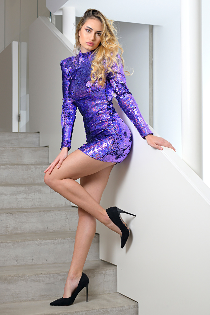 Desktop Wallpapers Blonde girl Model Stephanie posing Beautiful Stairs female Legs Staring gown  for Mobile phone Modelling Pose Girls stairway staircase young woman Glance frock Dress