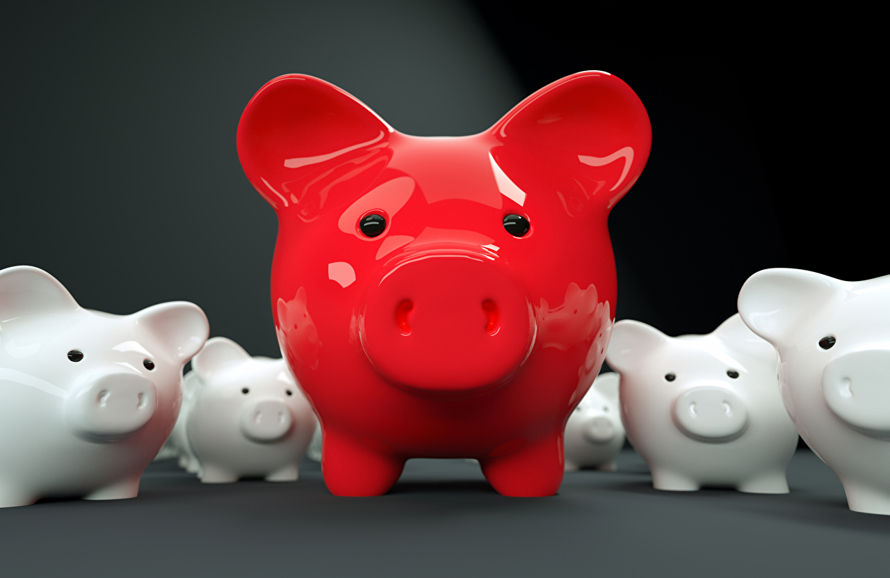 Image Red Front Piggy bank