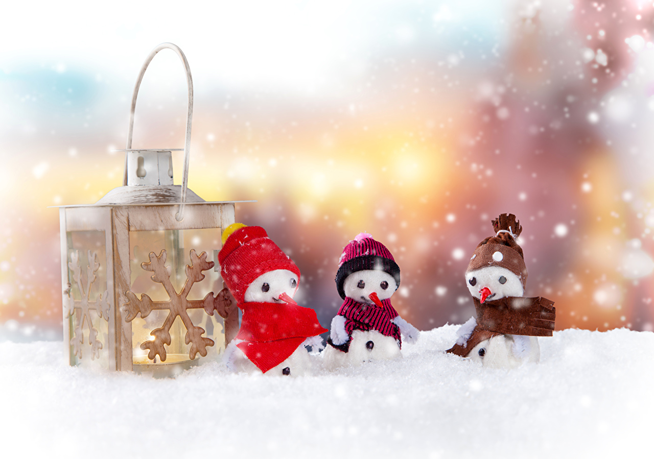 壁紙 祝日 新年 冬 雪だるま 雪 暖かい帽子 三 3 ダウンロード