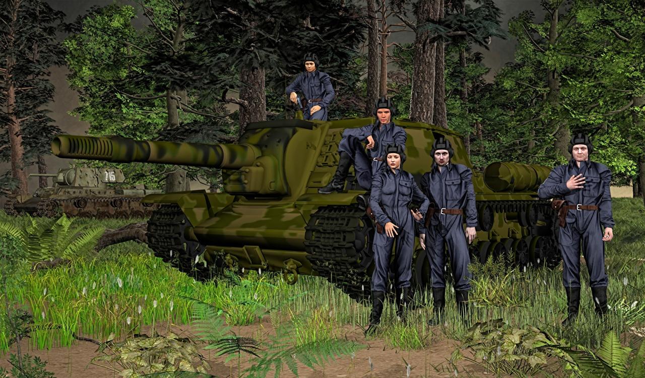 Foto Soldaten Selbstfahrlafette Russische SU-152 3D-Grafik