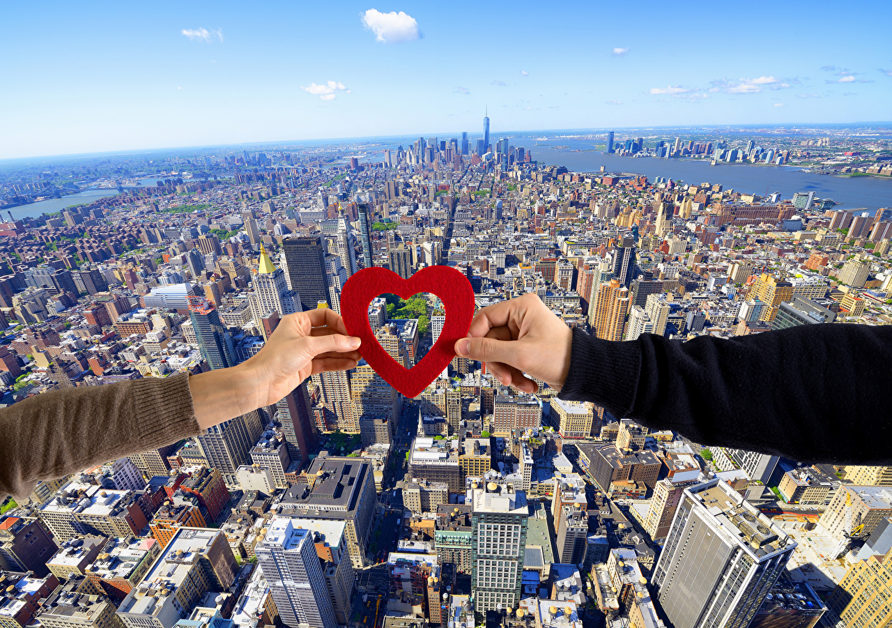 Wallpaper Valentine's Day Heart megalopolis Hands From above Megapolis