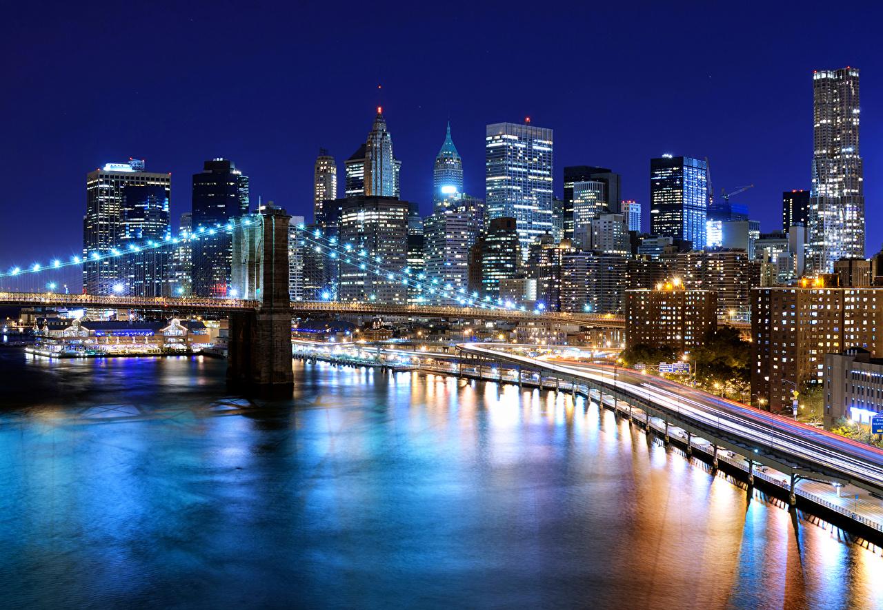 Fonds Decran Usa Gratte Ciel Rivières Ponts New York Nuit