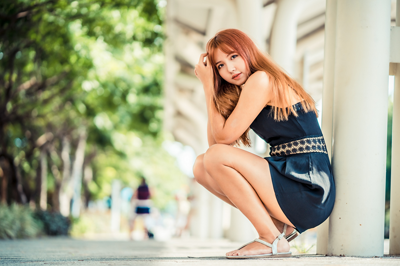 Photo Redhead girl Bokeh female Asiatic Sitting Glance Dress blurred background Girls young woman Asian sit Staring gown frock