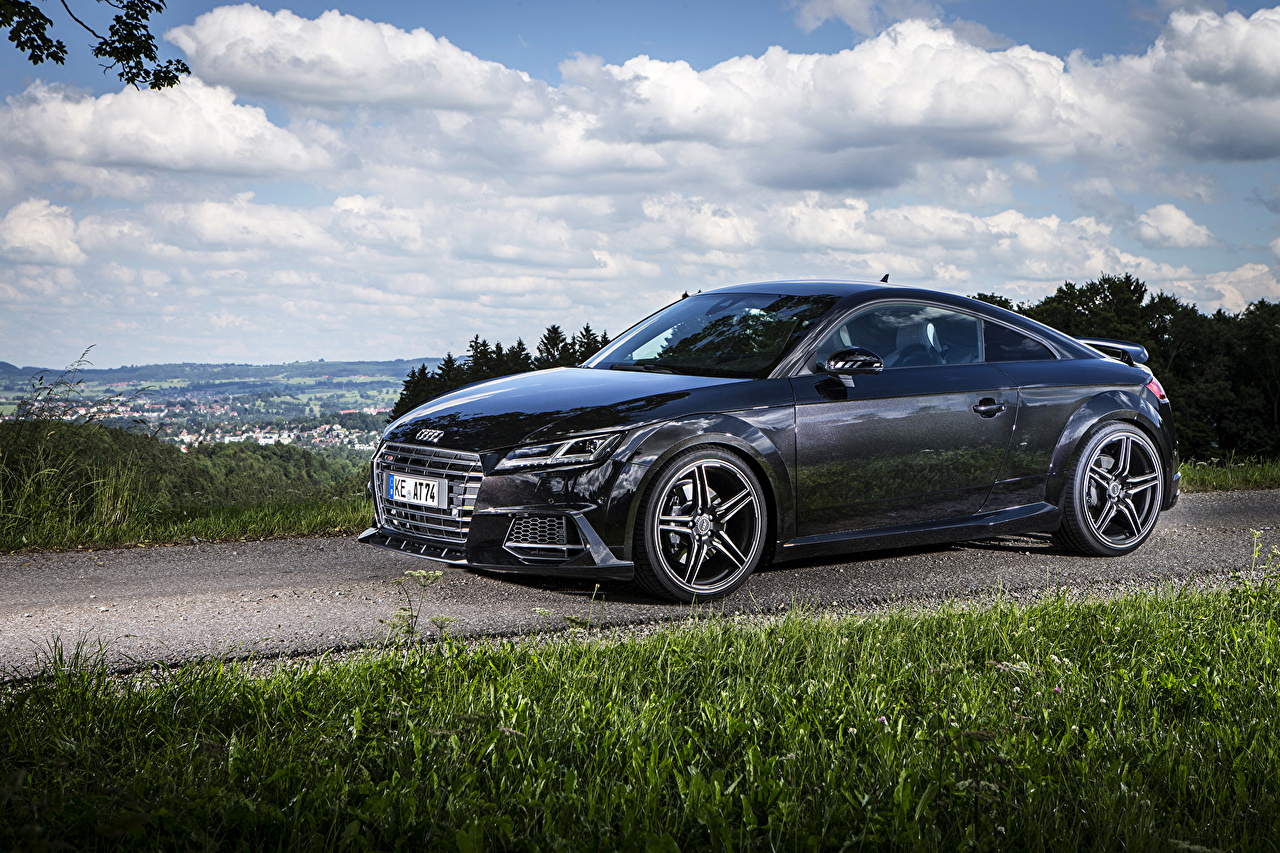 Photo Tuning 2015  ABT Audi TTS Coupe (8S) Black auto Side Metallic Cars automobile