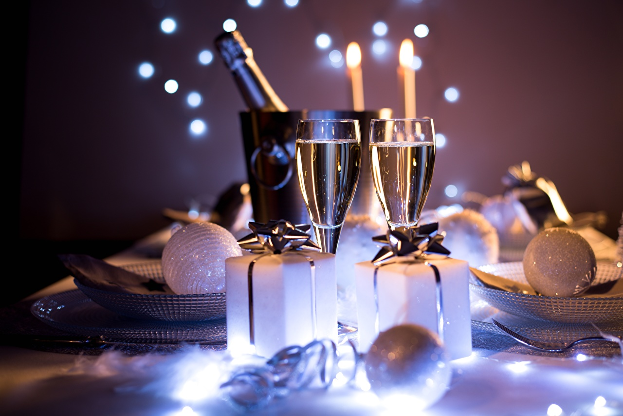 Images New year blurred background Gifts Balls Stemware Christmas Bokeh present