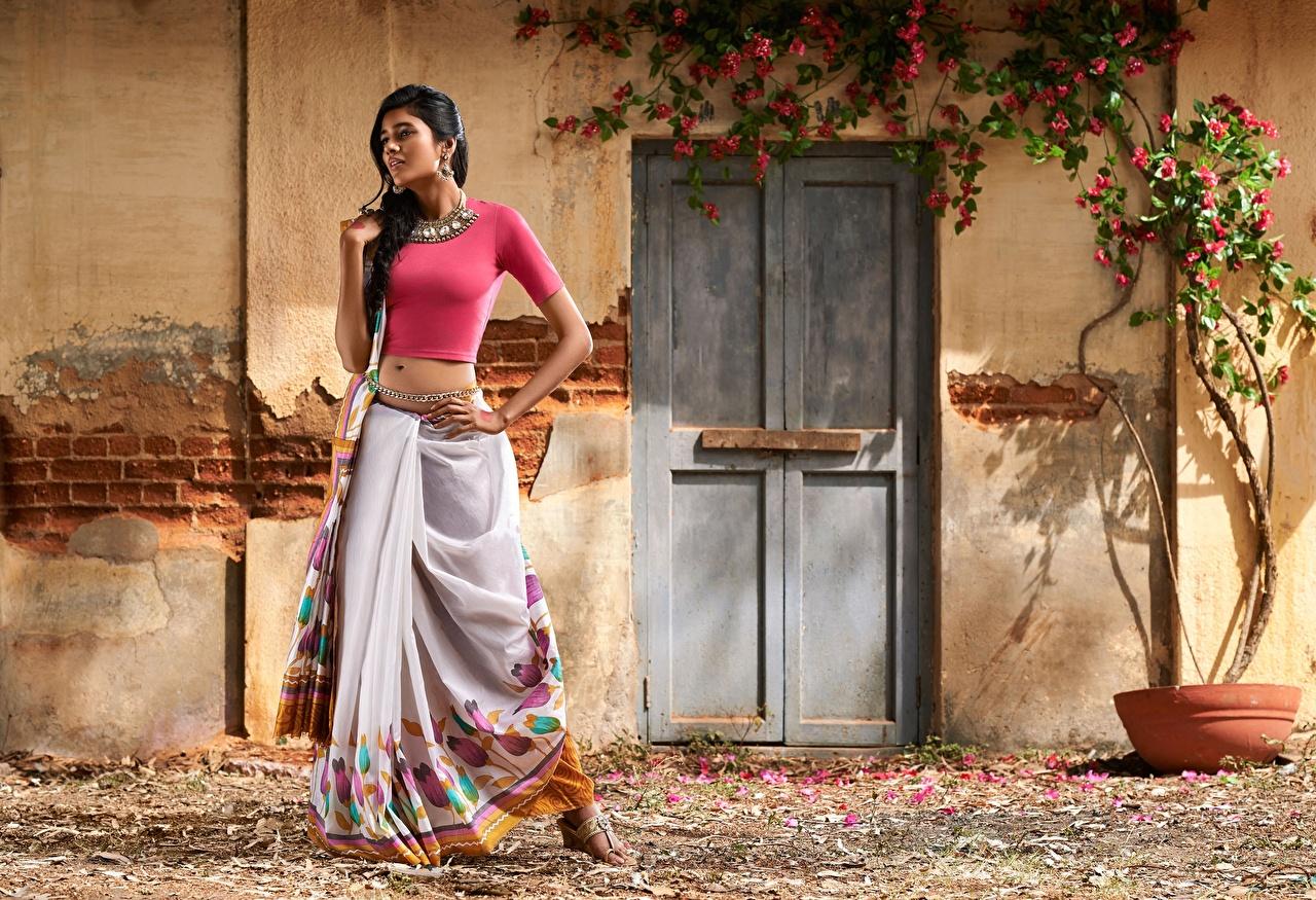 Fotos Indian Brünette posiert junge frau Hand Schmuck Pose Mädchens junge Frauen