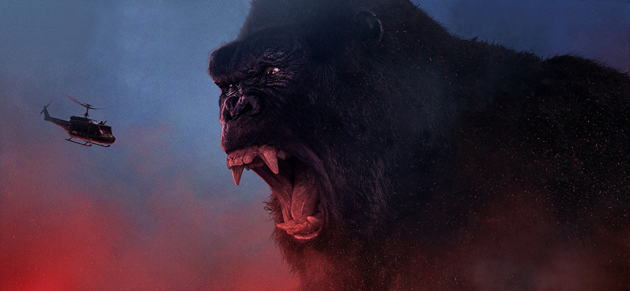 Image Kong: Skull Island Helicopters Monkeys Canine tooth fangs scream Roar film helicopter monkey Screaming angry Movies