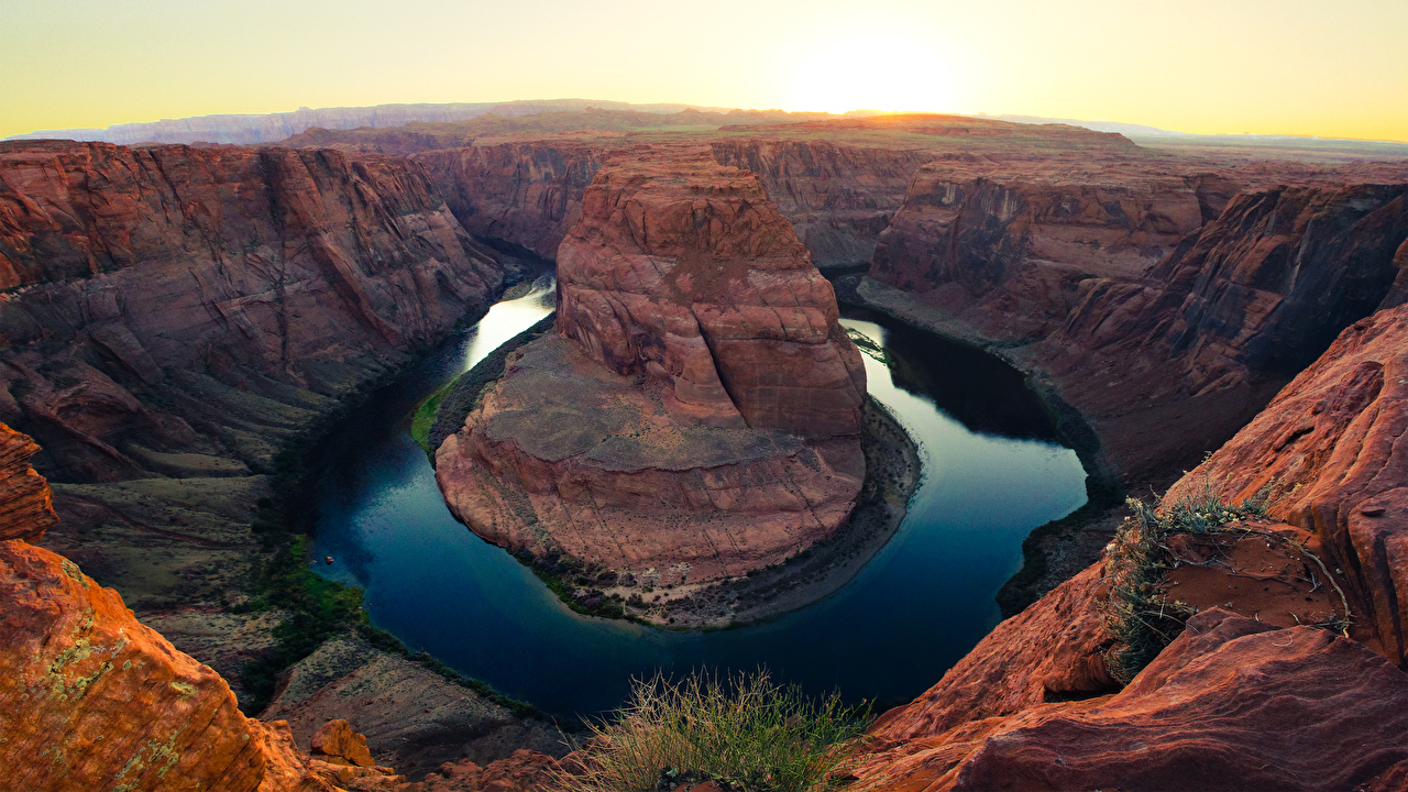 Images USA Colorado river, Arizona Cliff Canyon Nature sunrise and sunset river Rock Crag canyons Sunrises and sunsets Rivers