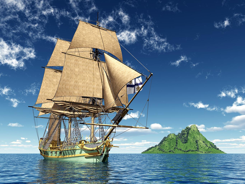 Desktop Wallpapers Sea 3d Graphics Sky Ships Sailing