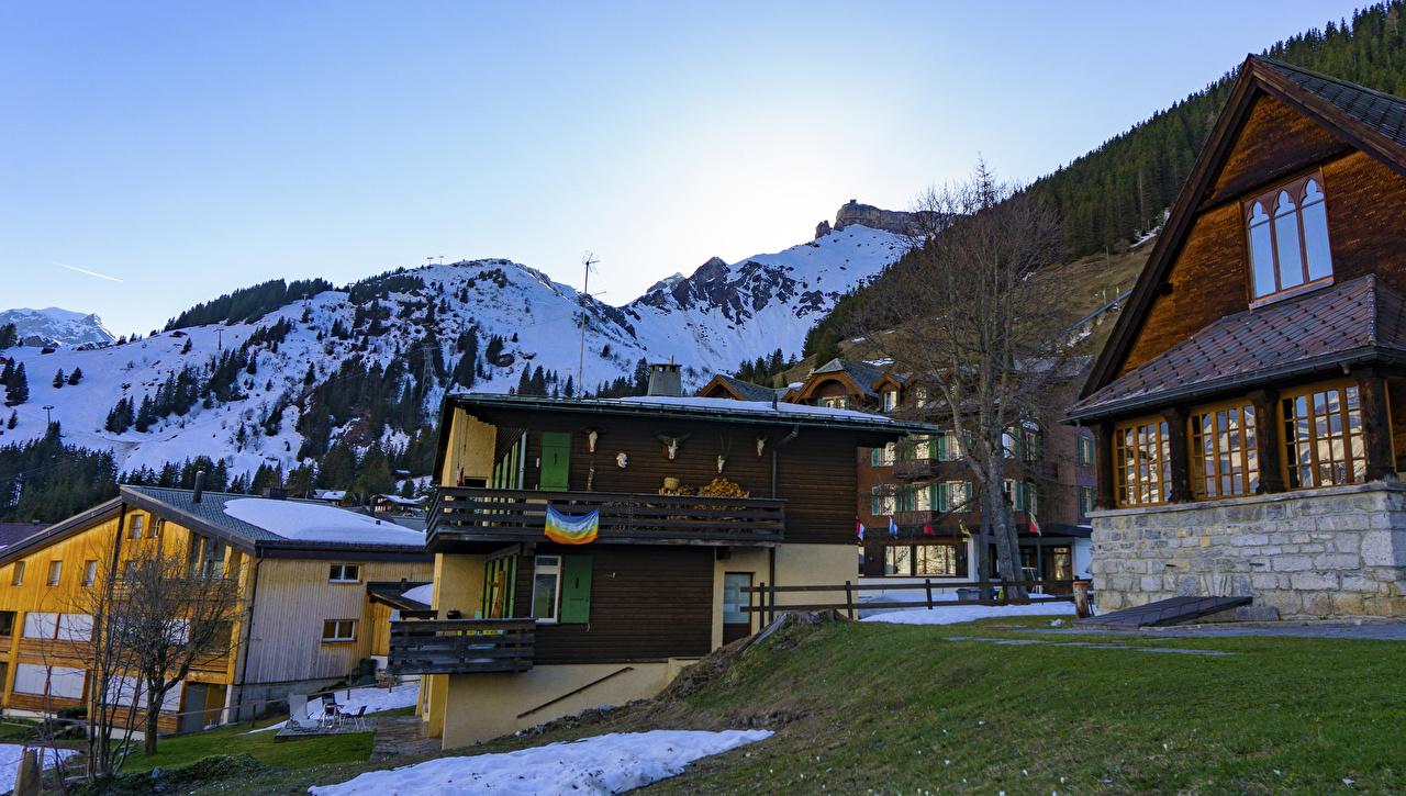 Picture Switzerland Murren Village mountain Cities Building Mountains Houses