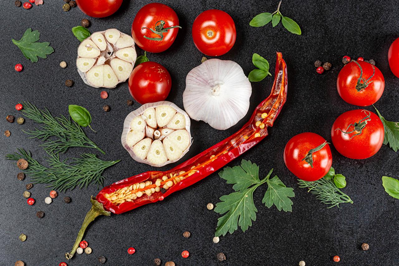 Bakgrunnsbilder tomat Chilipepper Svart pepper Dill Hvitløk Mat Tomater